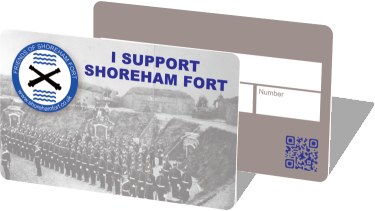Friends of Shoreham Fort membership cards, front and back
