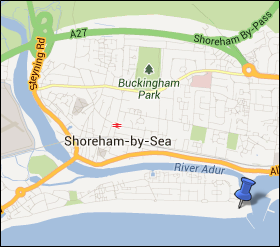 Map of the UK, focusing on Shoreham Fort